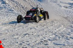 Winter auto racing on makeshift machines. Stock Photography