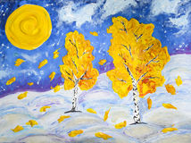 Winter and autumn. Abstraction fantasy global warming autumn leaves in winter full moon oil painting acrylic