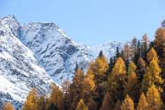 Winter and autumn in the mountains Royalty Free Stock Image