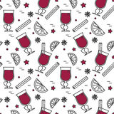 Winter autumn mulled wine seamless pattern Linear style Stock Photos