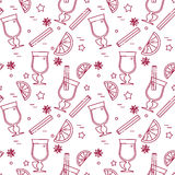 Winter autumn mulled wine seamless pattern Linear style Royalty Free Stock Image