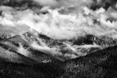 Winter scene in Romania , beautiful landscape of wild Carpathian mountains. Winter and autumn scene in Romania,mist, white frost over autumn trees , landscape royalty free stock photo