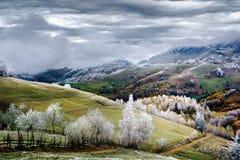 Winter scene in Romania, white frost over autumn trees stock photo