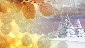 Winter and autumn seasons. Digital composite of winter and autumn seasons each occupying half of the screen with a foreground filled with analogue clocks stock video