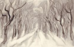 Winter avenue watercolor landscape. Christmas card. Winter background Royalty Free Stock Images