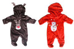 Winter babies overalls for christmas Stock Image