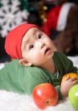 Winter baby. Cute baby at winter holiday night Stock Photos