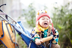 Winter baby crying Royalty Free Stock Images