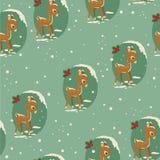 Winter baby deer retro seamless Royalty Free Stock Photos