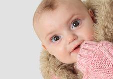 Winter baby girl Royalty Free Stock Image