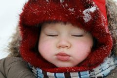 Winter baby sleeping Royalty Free Stock Image