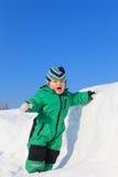 Winter baby in snow stock photo