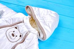 Winter baby snowsuit romper. Stock Photo