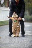Winter baby walking Stock Photos