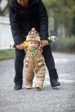 Winter baby walking Royalty Free Stock Image