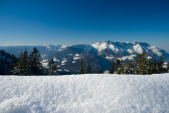 Winter backdrop. Panorama of the alps suitable as backdrop for products Royalty Free Stock Photo
