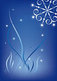 Winter background. Snowflakes and stars on a blue background Royalty Free Stock Photography
