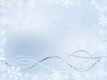 Winter Background. With Different Snowflakes And Wavy Ribbons Stock Photos