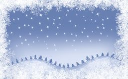 Winter Background. With Different Snowflakes And Christmas Trees Royalty Free Stock Photography