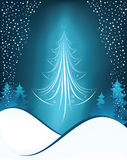 Winter background. With trees and snow for christmas Stock Photography