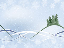 Winter Background. With Fur-Trees And Wavy Ribbons Royalty Free Stock Photo