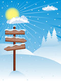 Winter background. With a wooden banners. Vector illustration Stock Image