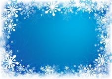 Winter background. Decorative blue Christmas background with snowflakes Royalty Free Stock Photography
