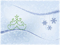 Winter Background. With Fur-Tree And Snowflakes Royalty Free Stock Image