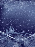 Winter Background. With Fur-Trees And Wavy Ribbons Royalty Free Stock Photos