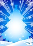 Winter background. Snowflakes and tree blue background Stock Photo