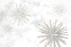 Winter background. White sparkling snowflakes and stars Stock Photography
