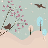 Winter background. Abstract winter background - birds and trees vector illustration