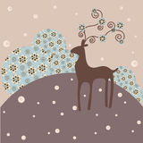 Winter background. Deer ans stylized trees - winter background stock illustration