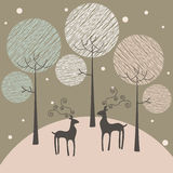 Winter background. Two deers in winter forest - stylized background stock illustration