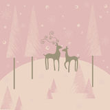 Winter background. Romantic winter background with deers vector illustration