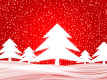 Winter background 2 red. Winter background with christmas trees and many snowflakes Royalty Free Stock Photo