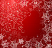 Winter background. With snowflakes in red vector illustration