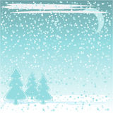 Winter background. Abstract winter background with trees  and snowflakes Royalty Free Stock Photography