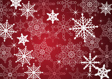 Winter background. With snowflakes in red Stock Photos