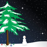 Winter Background. White Winter Background with snowman Royalty Free Stock Photography
