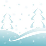 Winter background. Computer generated illustration with fir tree Stock Photo