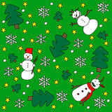 Winter background. Green background with snowmen, snowflakes, pine trees and stars stock illustration