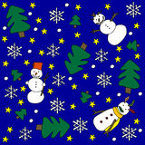 Winter background. Blue background with snowmen, snowflakes, pine trees and stars stock illustration