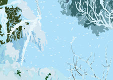 Winter background. Fragment of the winter snow-covered landscape. Vector drawing. It is scalable without loss of quality Royalty Free Stock Photo