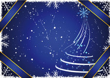 Winter background. Blue winter background with snowflakes and tree. 2009 vector illustration