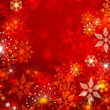 Winter background. Red winter background with a lot of snowflakes vector illustration