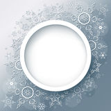 Winter background abstract with snowflakes. Winter background abstract with 3d snowflakes, winter round frame. Christmas and New Year celebratory card with place Stock Photos