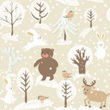 Winter background with animals Stock Photo