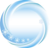 Winter background as a round frame with snowflakes Royalty Free Stock Photo