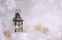 Winter background. Beautiful candlestick in the shape of a house in a snow fairy forest. Copy space stock photography